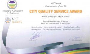 Certificat du City Quality Service Award