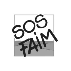 SOS FAIM logo gris et noir